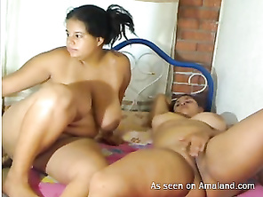 BBW lesbians masturbating on webcam.