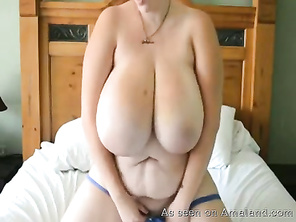 BBW woman masturbates all over her house.