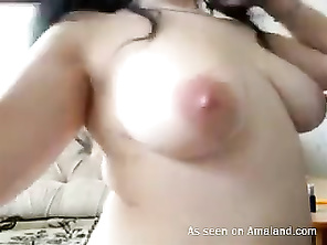 Chubby GF stripping and masturbating on webcam.