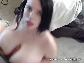 BBW babe gets a cumshot on her huge tits.