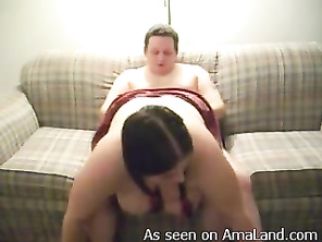 Really fat GF gets fucked by her tubby boyfriend.