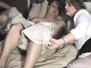 In this swinger's hardcore, FFM threeway, you'll be watching brunette MILFs Angel and Saphire, taking turns giving this one man a blowjob, before the chic with the massive home grown hooters, lets him penetrate her completely clean shaved pussy, while the