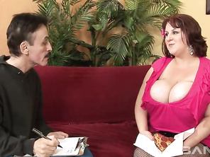 Sapphire is a top heavy redheaded MILF, who tells her next door neighbor to drop by for lunch but what he didn't know is, she is referring to her eating his dick.