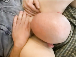Next, she gives him an upskirt, while bending over their bed, so he can hold onto her booty while fucking her from the rear, until this big boobed brunette, gets a fresh made creampie.
