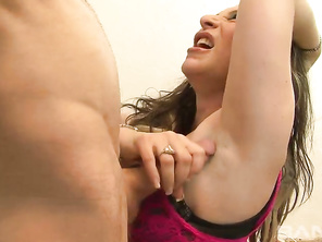 Here's a screaming brunette MILF, who can't seem to get enough sex, as you'll find her fucking the same old computer geek that her next door neighbor had sex with the day before.
