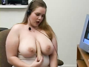 Long distance relationships can be lonely, but this plump chick sure knows how to please her lover.