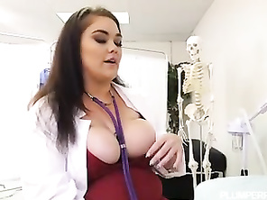 Topheavy CHUBBY Doctor Lisa Canon Feels Up Big Dick