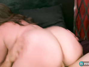 While Harley is sucking and licking, JMac is exploring her ass, pussy and butthole and spanking her chubby cheeks.