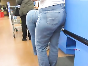 Wide White Blue Jeans Hips