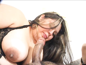 BBW brunette with big boobs, Lorelai Givemore, and an Asian girl take on two men in this interracial foursome group sex session from Third World Media's Roll Me A Fatty, the obese slut getting thoroughly fucked by both men, followed by a facial cumshot.