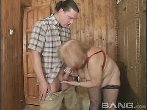 GILF redhead with big boobs, Jan, gets it on with a well-hung man in his 30s, giving him an enthusiastic blowjob before she stuffs hi cock in her elderly pussy for some vigorous fucking in this intergenerational sex session from Heatwave's Hey My Grandma