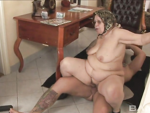 He fucks this BBW from every position and she kneels down for the facial cumshot in the end too.