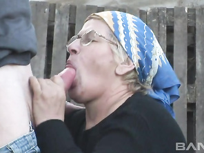 Old gray Jenny takes a break from her farm chores to entertain two horny neighbors.
