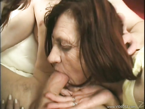 Our two elderly cockmistresses got together to treat our handsome and muscular younger man to some real blowjob action, the kind that, if you close your eyes and take in their soft, warm, and wet tongues, makes you explode cum in no time at all.