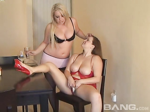 Brooke Scott and Jessica D'vine are the participants in this lesbian, one on one where you'll see the pleasantly plump, redhead masturbating with one leg on the table and a dildo in her juice box.