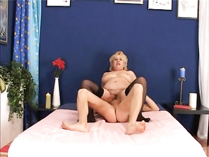 Veronique will get you warmed up after you see her bending over, while wearing her bra, stockings and a pair of frilly, cotton grannie panties, that have Doll written across the butt.