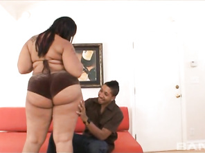 Once you get over the initial shock, when the lovely, BBW Booty Licious, shows her her mind blowing rump shaker, you'll have a smile on your face, as does the guy in this one on one, who loves watching those ass cheeks bouncing while she takes a ride on h