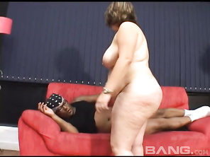 Before long, you'll see her laying on the couch, trying to look over her giant knockers, before she ends up swallowing his cum.
