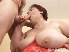Hajnalka is a redheaded BBW grannie with huge swinging tits, a massive booty and has several rolls of flesh that could be fucked as well.
