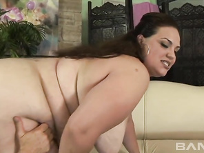 Angelina is a BBW, who will be wearing her black lingerie, while giving her lover a partial handjob and blowjob, before she takes off her warm, wet panties and kneels down on the leather couch, where her man will hold onto her great big booty and spread o
