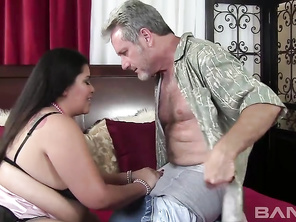 Asian Tyung Lee, is a BBW, who's the female version of a Buda, especially when she takes off her bra and lets her great big knockers hang down over her stomach, while she's squatting down on top of her boyfriend's hard cock, as it's plugged into her parti