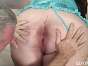 BBW Bella Bendz like having hardcore sex with older men, as you'll find her sitting on her couch, wearing her lingerie while this old gray-haired man is asking her which positions are her favorite, before she climbs on top and rides him, while you get to