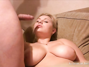 Blonde BBW jizzed on her face while lying on the sofa.
