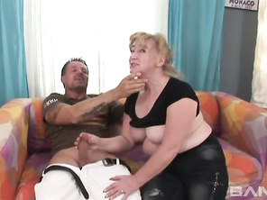 It's been quite some time since the 75 year old blonde grand mother Jitka, had a hard cock in her hand, but she's enjoying herself while giving this guy a handjob so much, that she decides to go for a blowjob and that gets her so horny, she takes off her