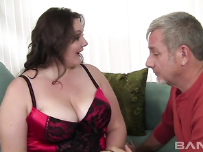 Joslyn Underwood is a big, beautiful college chic, who's wearing her sexy red lingerie, to get her old landlord horny, hoping for a free month's rent for a little hardcore sex.