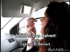 Jennifer Van Balvert is a wild, long haired redhead, who gets out of her car and lays in the public grass, giving you an upskirt of her meaty thighs, while massaging her wet pussy, masturbating for an orgasm, until her man wants to give her massive boobs