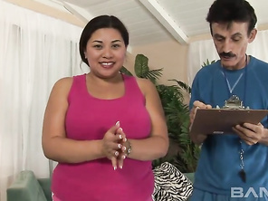 Tyung Lee is BBW Asian who lets this old man feel her nipples through her shirt, to see if he can get them hard.