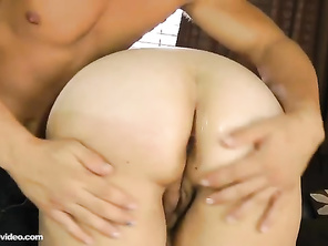 A real hot sexy white chubby girl woman enjoying big large young cock