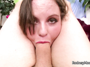Rodney gets Jules naked, exposing her huge tits before filling her mouth with his cock.