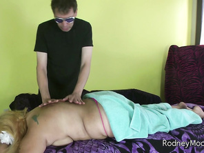 Curvy blonde Jade is at Rodney's to get a massage but she is really shy.