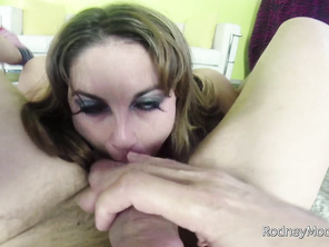 She orders him to take off his pants, then she plays with her big boobs while she gives him a thorough blow job.
