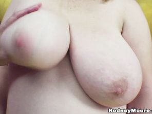 Then she spreads her folds to allow his cock into her shaved pussy.
