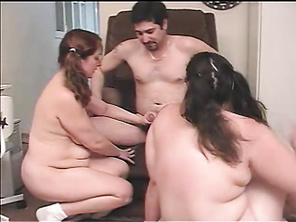 They were already naked when Taylor arrived and all he had to do was sit down to have his cock sucked by these horny fatties.