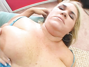 You'll be seeing her strip and get nasty with a big cock sliding in and out of her fat mounds.
