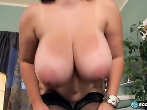 I like being trapped and restrained, says a giggly Alana, touching her big boobs.