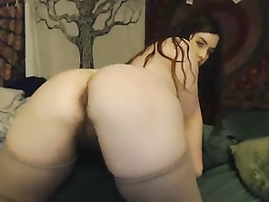 FAT with hairy butt and cunt plays on webcam
