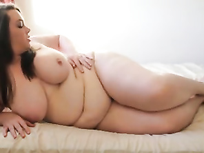 beautiful girl mastrubates and play with belly