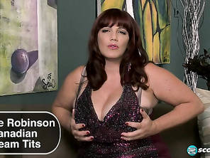 Newcomer Roxee Robinson has Canadian cleavage that goes on and on.