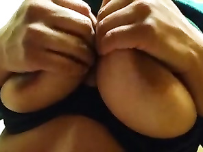 My amateur - playing with tits in work bathroom