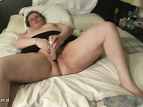 FAT real mother playing on her bed