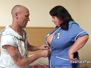 Chubby nurse with massive tits takes it up the bumhole