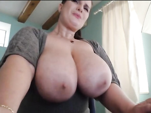 Cute brunette FAT plays with her tits and cunt part3.
