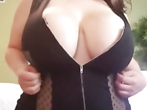 Chubby trys on lingerie