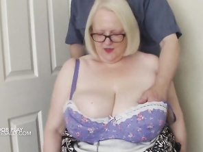 A mystery man gets a handful of Sally's tits