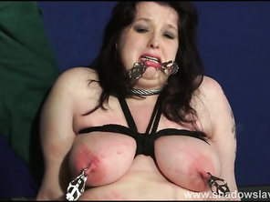 Fatty slaveslut Emma tit tortured and breast whipping of fat