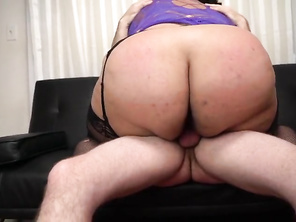 He has a huge butt plumper on top of his dick